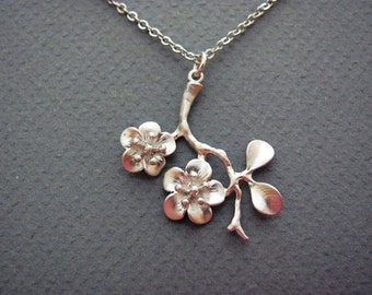 Dainty Cherry Blossom Branch Necklace in Silver- sakura, spring bridal bridesmaids jewelry, available in gold.