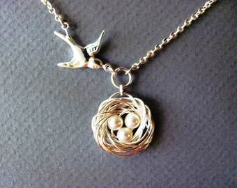 Personalized Bird Nest and Mother Bird Necklace in Silver- mom, anniversary, baby shower gifts, available in gold.