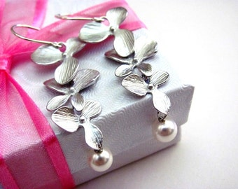Silver Triple Orchids and Pearl Cascade Earrings- sterling silver earwires, romantic bridal bridesmaid jewelry.