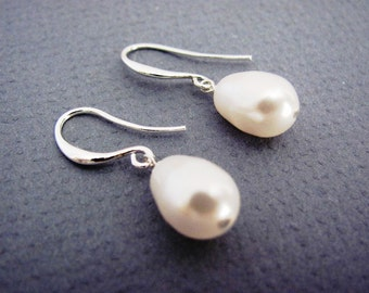 Silver Swarovski Teardrop Pearl Dangle Earrings- simple, everyday, bridal jewelry, bridesmaids gifts, available in gold.
