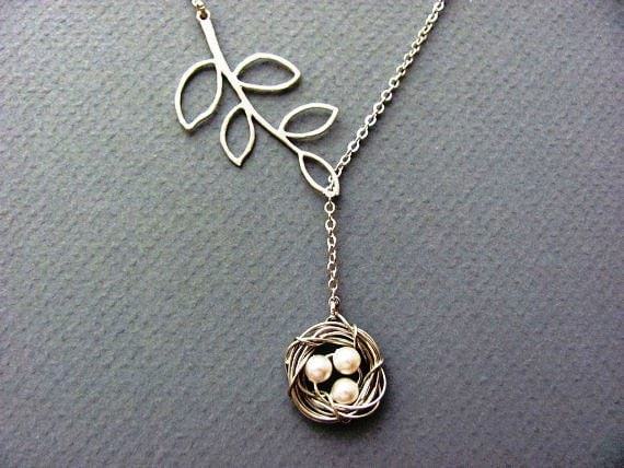 Silver Bird Nest and Branch Lariat Necklace- mom, mother in-law, baby shower, mother's day gift, customizable