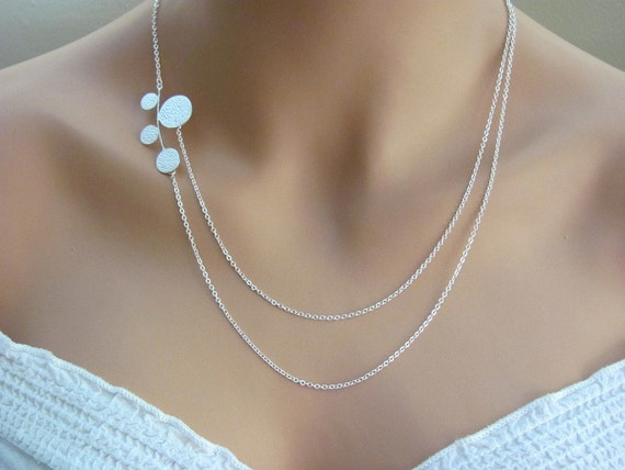 Modern Circles Asymetrical Double Strand Necklace- sterling silver filled, elegant everyday jewelry