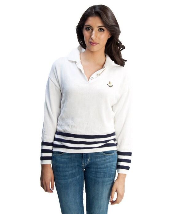 SALE 1/2 OFF 80s Vintage Medium White Sailor Sweater