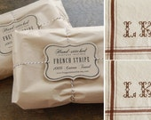 Set of 2 - BROWN - Personalized French Stripe Towel with hand-stitched initials
