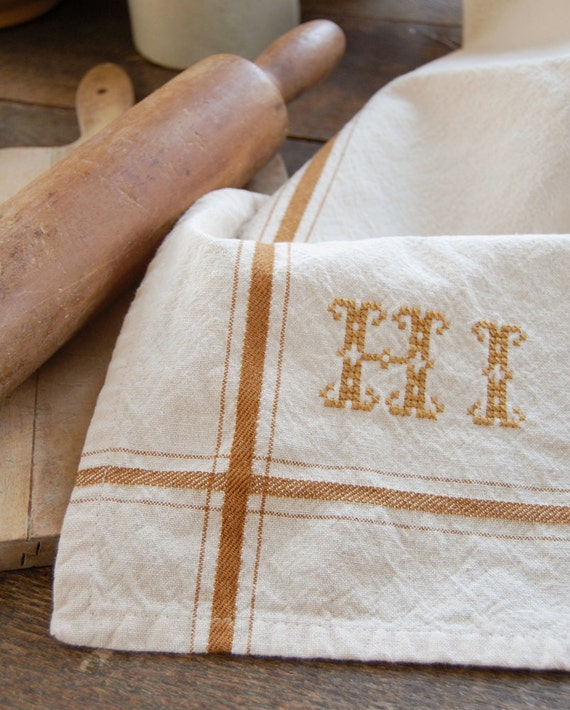 Personalized French Stripe Kitchen Towel with hand-stitched initials - DARK MUSTARD