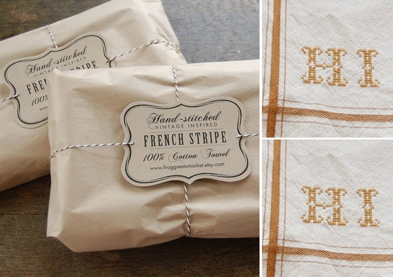 Set of 2 - DARK MUSTARD - Personalized French Stripe Towels with hand-stitched initials