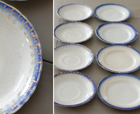Set of 8 Antique Flow Blue Small Plates and Saucers