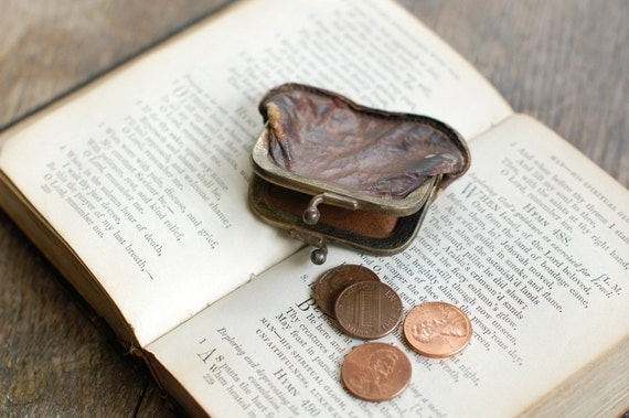 Tiny Antique Leather Change Purse