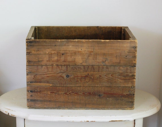 Large Vintage Wooden Box - Devoe Paint and Varnish Products