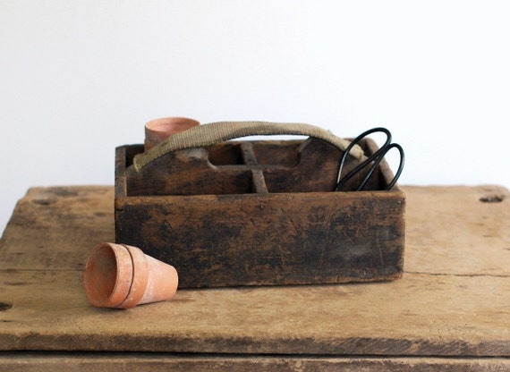 Primitive Wooden Divided Tote Box with Canvas Strap Handle