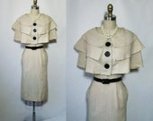 RESERVED 1950's Stunning Capelet Hourglass Wiggle Dress XS S