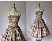 60's Indian Summer Batik Print Cotton Full Garden Party Dress XS