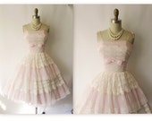 Reserved for Ivy  1950's Tiered Pink Chiffon Lace Strapless Wedding Party Prom Dress S M