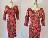 Reserved for Gingertown Vintage 1950's Dress // Satin Rose Print Mad Men Cocktail Party Wiggle Dress M