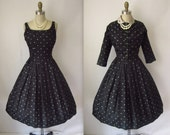 1950's Black Dress //  Black Taffeta Polka-Dot Full Cocktail Party Dress Jacket Set XS