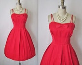 60's Holiday Dress // Vintage 1960's Red Satin Full Cocktail Party Holiday Dress XS S