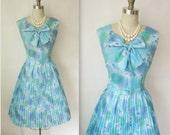 60's Dandelion Dress // Vintage 1960's Blue Print Garden Party Mad Men Day Dress L