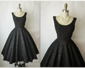 50's Cocktail Dress // Vintage 1950's Black Taffeta New Look Cocktail Party Full Circle Dress S