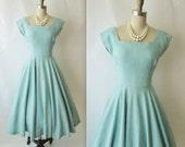 50's Summer Dress // Vintage 1950's Robin's Egg Blue Linen Full Garden Party Prom Dress S