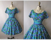 50's Floral Dress // Vintage 1950's Floral Print Garden Party Mad Men Dress XS