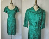 50's Cocktail Dress Set  // Vintage 1950's Jade Green Satin Brocade Cocktail Party Wiggle Dress Jacket Ensemble S M