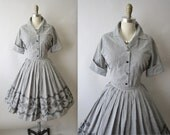 50's Embroidered Gingham Dress Set // Vintage 1950's Cross Stitch Gingham Cotton Shirtwaist Mad Men Ensemble XS S