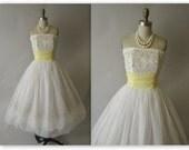 50's Wedding Dress // Vintage 1950's Flocked White Chiffon Strapless Wedding Dress Gown XS