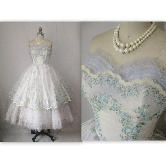 RESERVED 1950's Flocked Chiffon Tulle White Strapless Shelf Bust Wedding Dress Gown XS