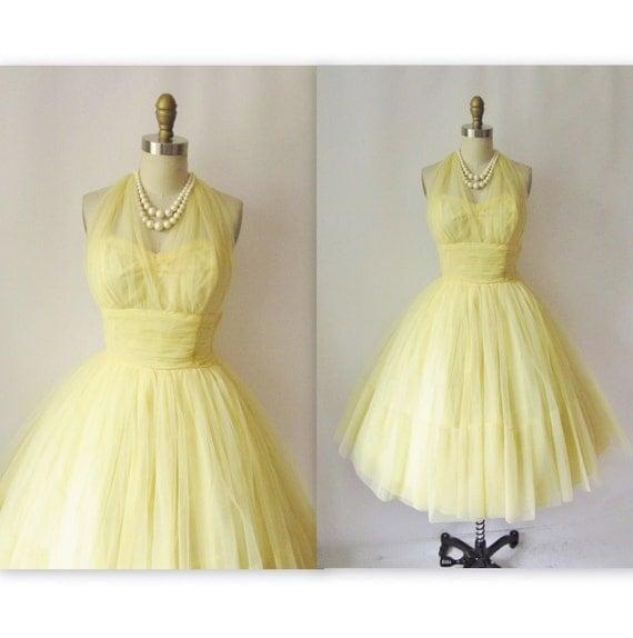 1950's Lemon Halter Tulle Strapless Marilyn Prom Wedding Party Dress S M