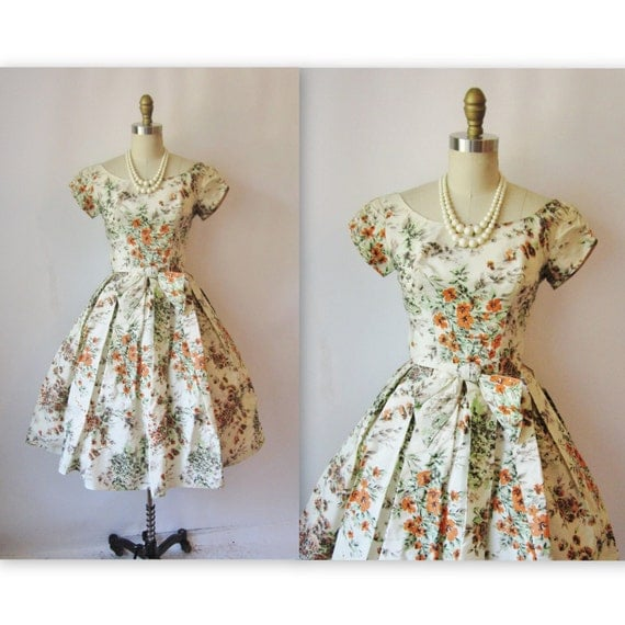 Reserved for Lesley 1950's Floral Taffeta Garden Party Cocktail Mad Men Dress XS