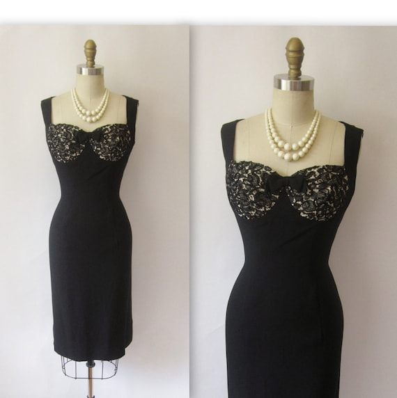 1950's Lilli Diamond lllusion Bust Black Lace Hourglass Cocktail Party Wiggle Dress L