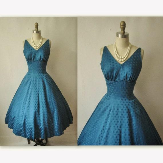 50's Cocktail Dress // Vintage 1950's Deep Blue Polka
