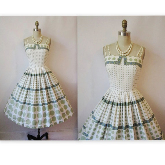 50's Cotton Dress // Vintage 1950's Polka Dot Print Cotton Garden Party Mad Men Summer Dress XS