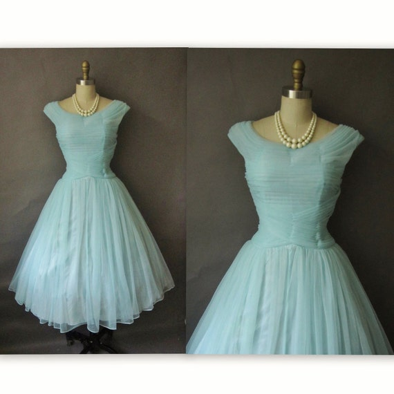 50's Chiffon Dress // Vintage 1950's Pleated Blue Chiffon Prom Wedding Party Dress S