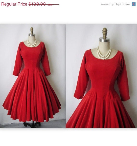 STOREWIDE SALE 50's Red Velvet Dress // Vintage 1950's Fiery Red Velvet Cocktail Party Holiday Circle Dress XS