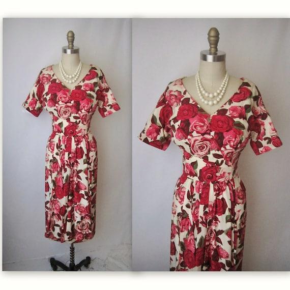 50's Rose Print Dress // Vintage 1950's Floral Print Silk Cocktail Party Mad Men Dress XS