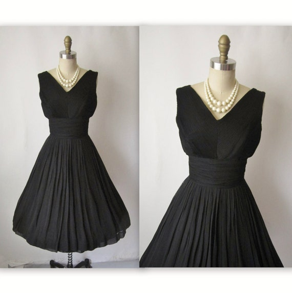 50's Cocktail Dress // Vintage 1950's Pleated Black Chiffon Full Cocktail Party Holiday Dress XS