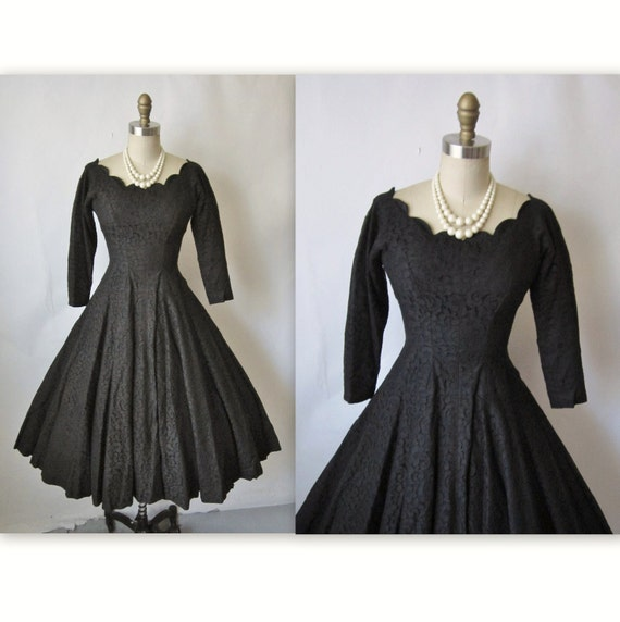 50's Cocktail Dress // Vintage 1950's Black Lace Full Circle Cocktail Party Dress XS