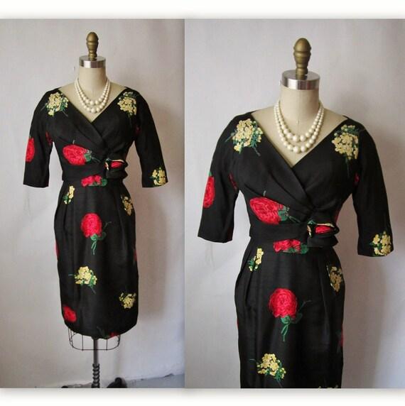 Reserved for Milena 50's Floral Wiggle Dress // Vintage 1950's Floral Print Silk Cocktail Party Mad Men Wiggle Dress XS