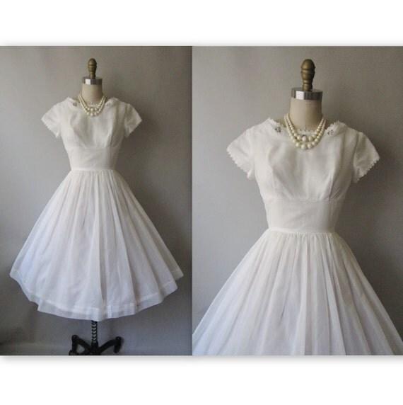 50's Dotted Chiffon Dress // Vintage 1950's White Swiss Dot Chiffon Wedding Party Dress XS