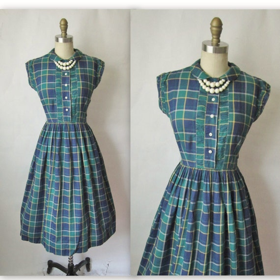 50's Plaid Dress // 1950's  Vintage Plaid Tartan Cotton Full Garden Party Mad Men Dress S
