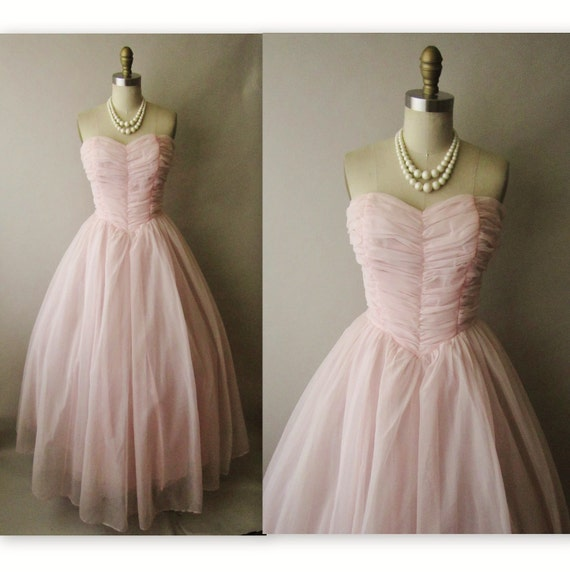 50's Chiffon Dress // Vintage 1950's Pink Chiffon Ruched Strapless Wedding Party Prom Dress Gown XS S