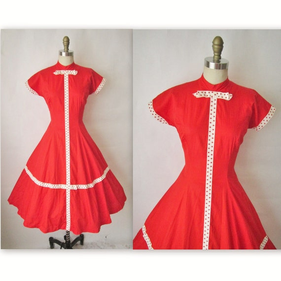 50's Red Dress // Vintage 1950's Red Cotton Full Garden Party Mad Men Summer Dress S