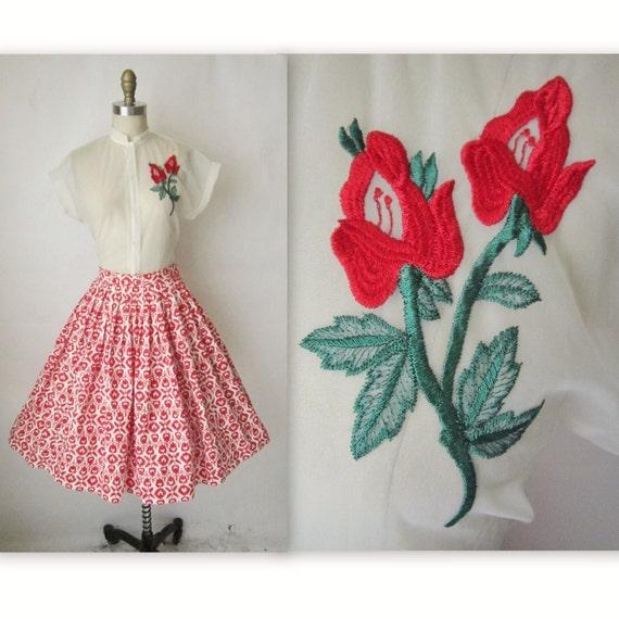 50's  Spring Ensemble // Vintage 1950's Red White Floral Print Cotton Garden Party Skirt & Sheer Blouse Set XS S