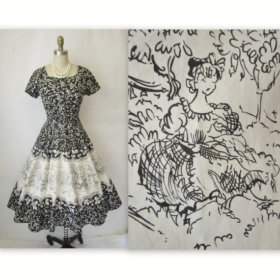 50's Toile Print Dress // Vintage 1950's Black & White Toile Novelty Print Cotton Garden Party Dress M