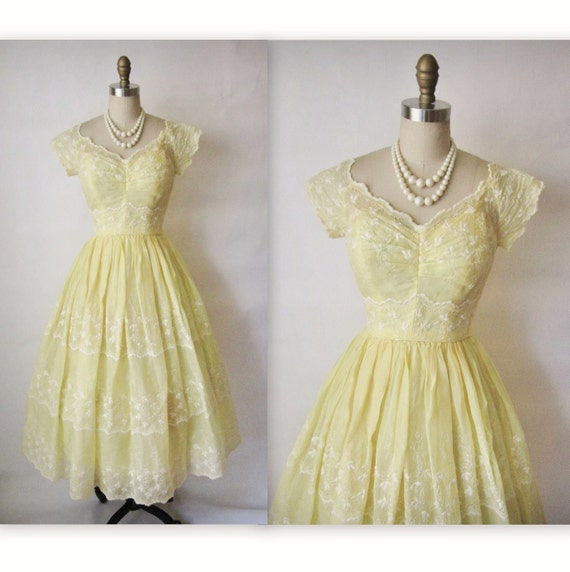 50's Eyelet Dress //  Vintage 1950's Emma Domb Embroidered Organdy Canary Yellow Prom Wedding Dress XS