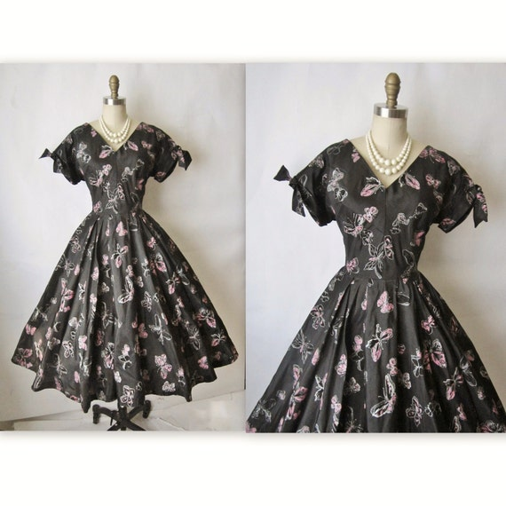 50's Flocked Butterfly Dress // Vintage 1950's Flocked Butterfly Organza Full Cocktail Party Dress L