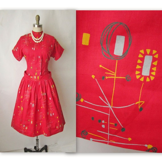 50's Surrealist Dress // Vintage 1950's Red Novelty Print Cotton Mid Century Mad Men Dress M L