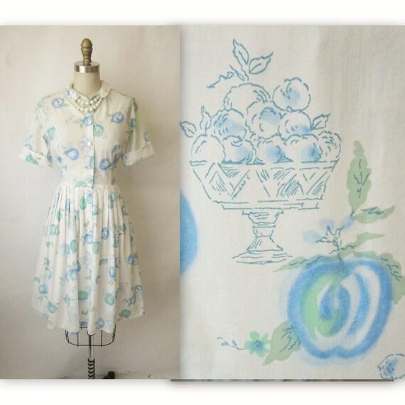 50's Fruit Print Dress // Vintage 1950's Novelty Print Cotton Garden Party Shirtwaist Day Dress S