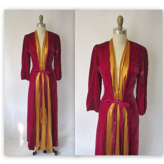 Reserved for Jennifer 40's Velvet Gown // Vintage 1940's Berry Velvet Dressing Gown Robe Dress S M